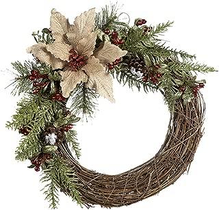 Ganz Natural Branch Burlap Poinsettia Wreath
