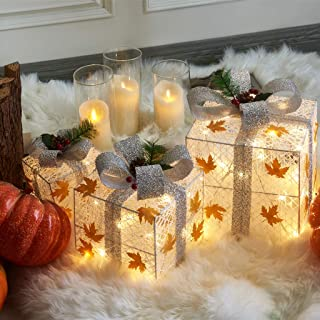 EAMBRITE Set of 3 48LT Christmas Glittering Gift Boxes Lighted with Bows Present Boxes for Christmas Tree Weddings Yard Ho...