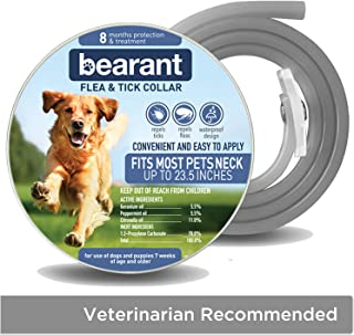 Bearant Flea and Tick Collar for Dogs - 8 Month Protection Dog Flea Protection - Organic Flea Collar for Dogs - Adjustable Size Fits All Dog Flea Collar - Waterproof Dog Flea and Tick Collars