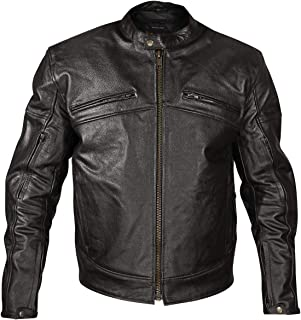 Xelement XSPR105 `The Racer` Mens Black Armored Leather Racing Jacket