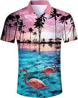 AIDEAONE Herren Hawaiihemd Strandhemd Hawaii Hemd Kurzarm Hemden