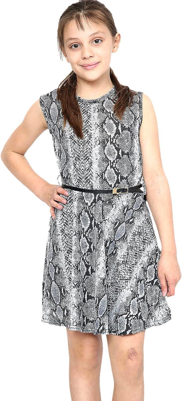 Girls Skater Dress Snake Print Sleeveless Flared Fancy Belted Dresses 5-14 Years