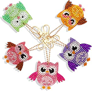 DIY Key Chain Set Full Drill Diamond Painting Kits for Adults, Kids Bag Accessories, Charm, Pendant Backpack Owl 5 Pack by Cenda