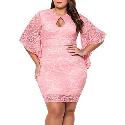 167417c34eeb4 Lalagen Women Plus Size Lace Flare Bell Sleeves Bodycon Cocktail Party Dress