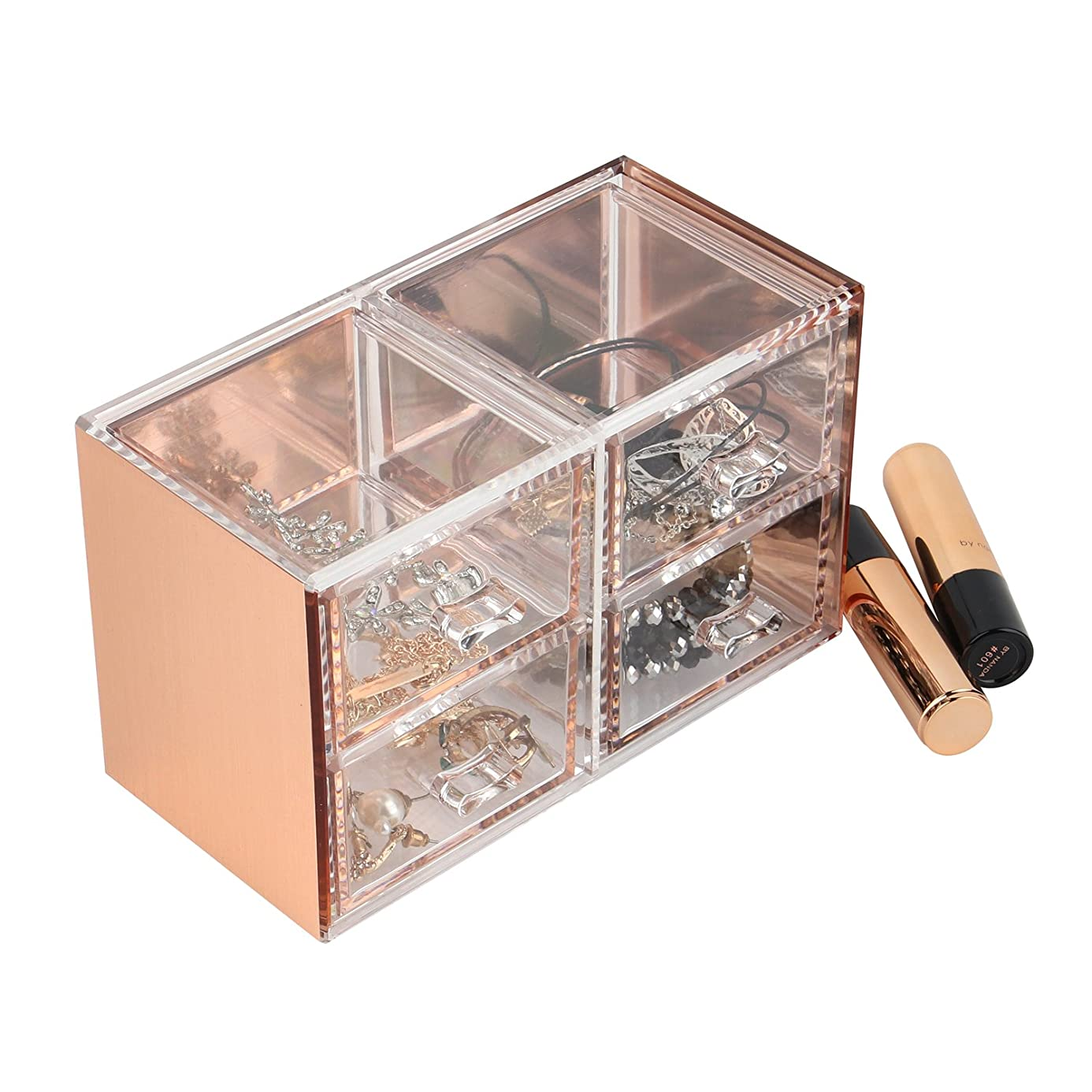 Moosy Life Rose Gold Acrylic Desk Organizer, Jewelry Box, 4 Drawers cov3165924
