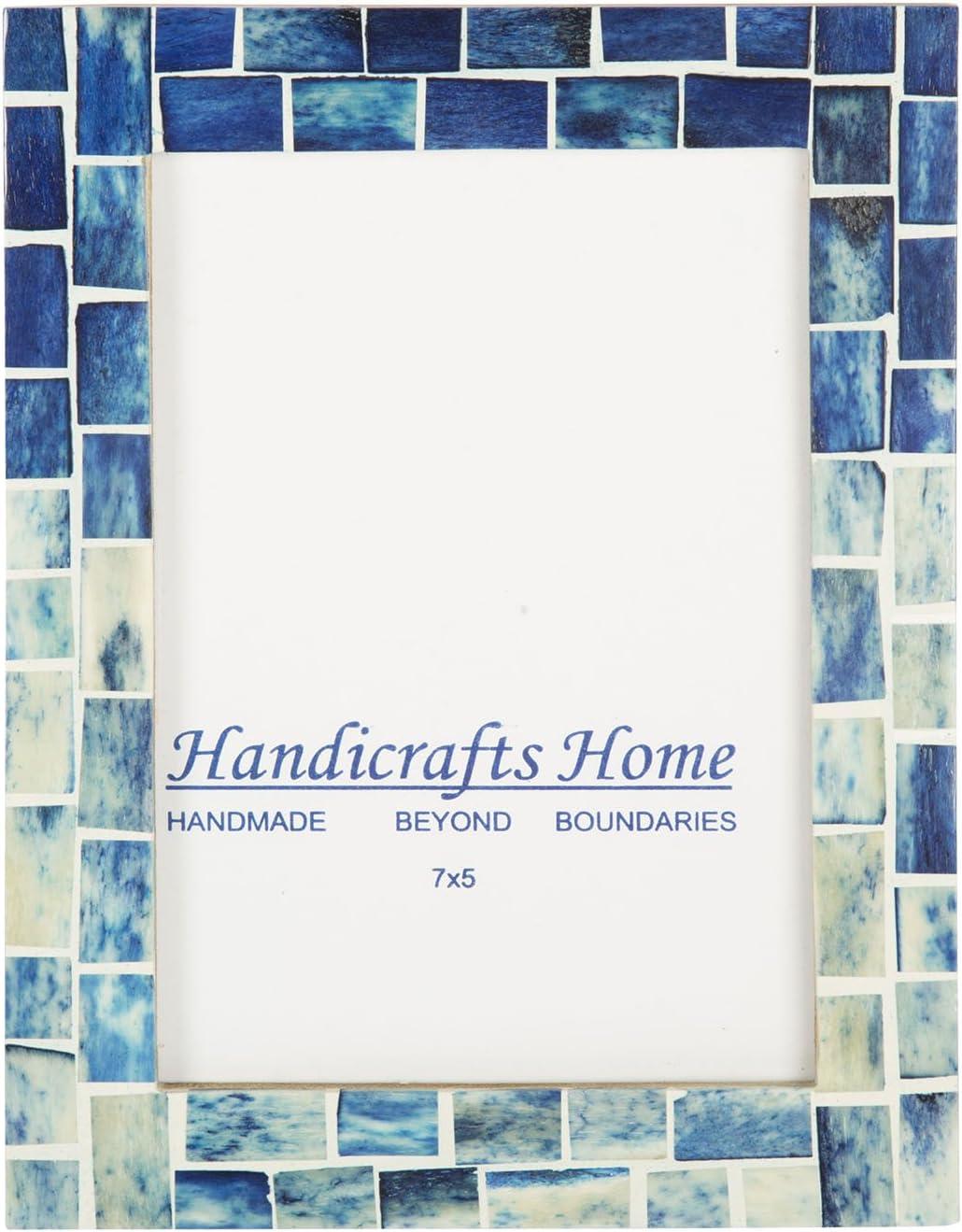Handicrafts Home Indigo Mosaic Photo Frame Bone Handmade Picture Frames – 5x7 inch