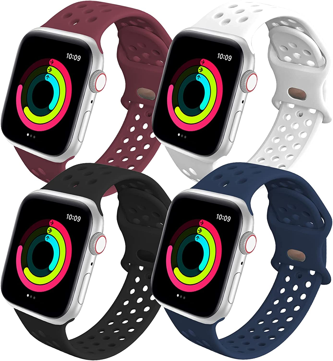 Cindgress Sport Band Compatible with Apple Watch Bands 38mm 40mm 42mm 44mm for Women Men,Breathable Stylish SoftSilicone Strap Compatible for iWatch Wristband Series 6 3 SE 5 4 2 1,4 Pack