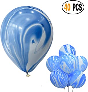 Mayen 40 Pcs 12 Inches Blue Agate Marble Latex Balloons, Tie Dye Swirl Balloons Helium Balloons for Birthday Party Decorations Baby Showers