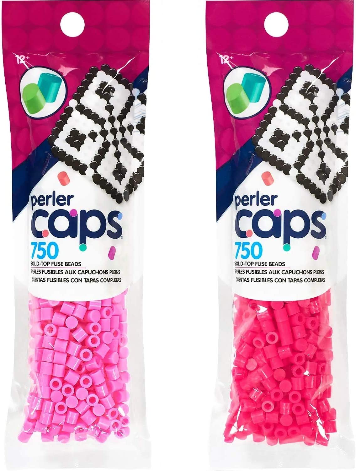 2 Pack Bundle Solid-Top Fuse Beads Perler Caps Blueberry Creme and Cobalt