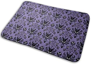 Haunted Mansion Happy Halloween Flannel Bath Mat with Non Slip Rubber,Water Absorbent Washable Bathroom Rugs Carpet for Tu...