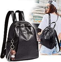 Women Backpack Leather Backpack Purse Casual Travel Shoulder Bag Anti-Theft Backpack Purse,Black