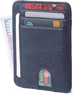 Slim Minimalist Credit Card Holder Front Pocket RFID Blocking Leather Wallets for Men & Women
