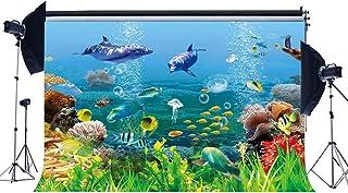 EdCott Vinilo 5X3FT Telón Fondo subacuático Mundo 3D Fondo Acuario Pez delfín Marino Debajo mar Fotografía