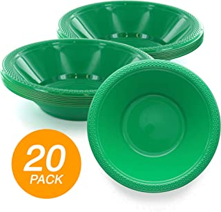 SparkSettings Reusable Plastic Bowls Washable BPA Free Cereal Bowl Perfect for for Salad, Fruit, Dessert, Snack, Small Serving and Mixing Bowls - Festive Green, Pack of 20