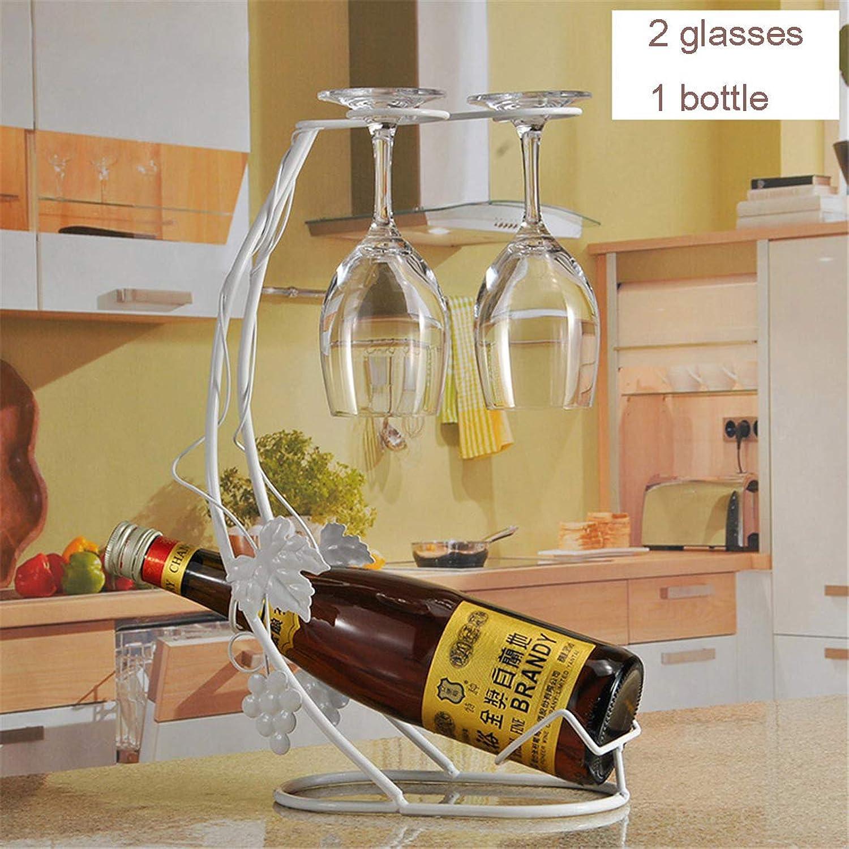 Ven a elegir tu propio estilo deportivo. El soporte para copas de de de metal para estante de vino puede contener 1 botella de vino y 2 copas de vino,blanco  mejor calidad mejor precio