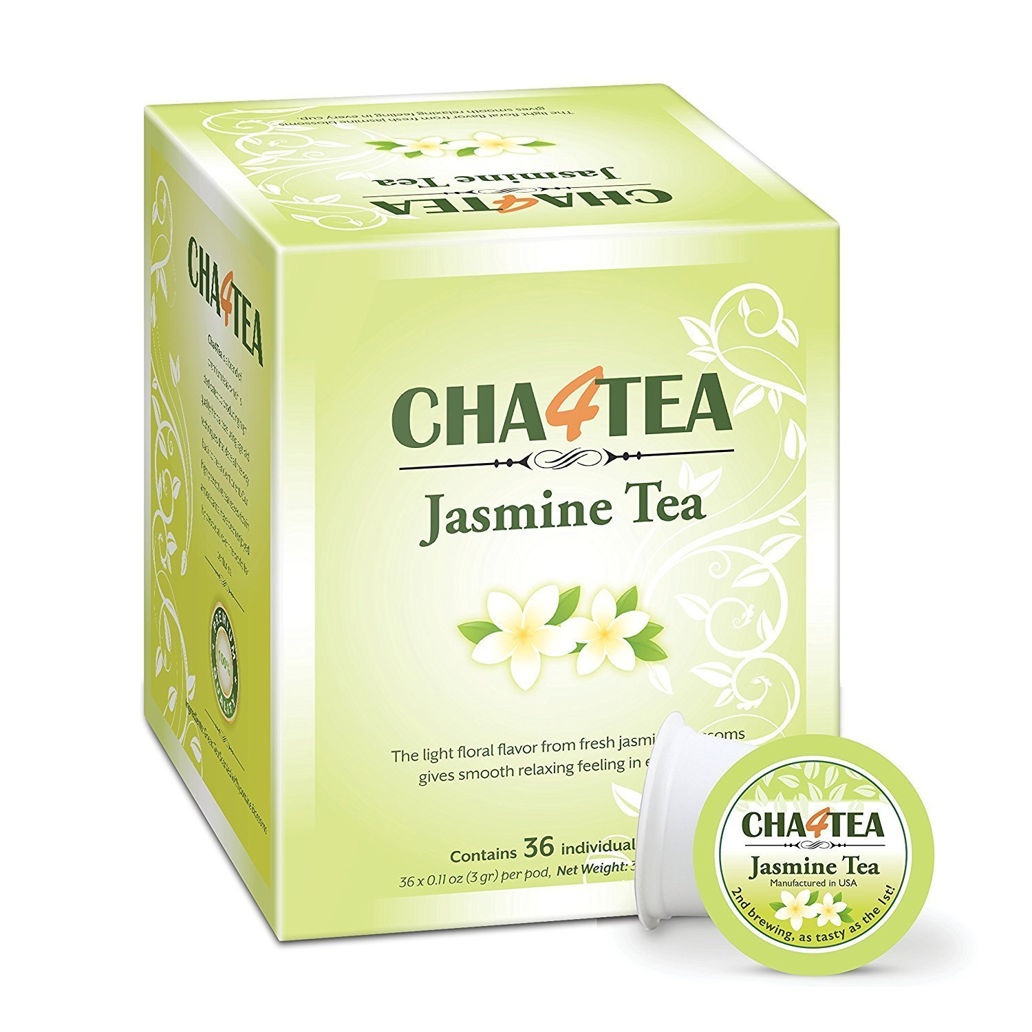 Cha4TEA 36-Count Max 60% OFF Jasmine Green Tea Keurig Free Shipping Cheap Bargain Gift K-Cups Pods for Brewer