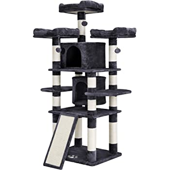 FEANDREA 67 inches Multi-Level Cat Tree for Large Cats, with Cozy Perches, Stable Cat Tower Cat Condo Pet Play House UPCT18W
