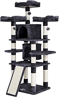 """SONGMICS 67"""" Multi-Level Cat Tree with Sisal-Covered Scratcher Slope, Scratching Posts, Plush Perches and Condo, Activity Centre Cat Tower Furniture - for Kittens, Cats and Pets UPCT18G"""