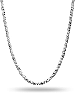 LeCalla Links Sterling Silver Italian Jewelry 2 MM Popcorn Coreana Chain Necklace for Teen Women and Men (16, 18, 20, 22, ...
