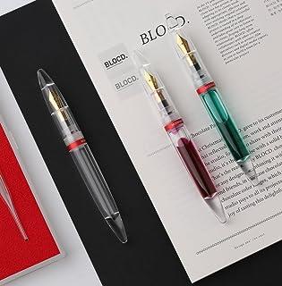 Moonman Fountain Pen Fine Nib, Clear Transparent Acrylic Demonstrator, Huge Ink Capacity, Eye Dropper Filling, Pocket Pen Set
