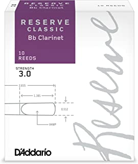 D'Addario Reserve Classic B♭ Clarinet Reeds, Strength 3.0 (10-Pack) – Thick Blank Reed Offers a Rich, Warm Tone, Exceptional Performance and Consistency – Ideal for Advanced Students or Professionals
