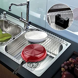 Ahyuan Roll up Dish Drying Rack over the Sink Dish Drying Rack 304 Stainless Steel Dish Rack Foldable Dish Drainers for Kitchen Sink Counter Warm Grey (17.8''x11.8'')