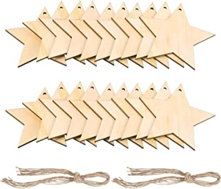 Pangda 20 Packs Wooden Star Cutouts Hanging Ornaments with 20 Packs Strings for Wedding, DIY, Craft, Festival, Decoration, Embellishments