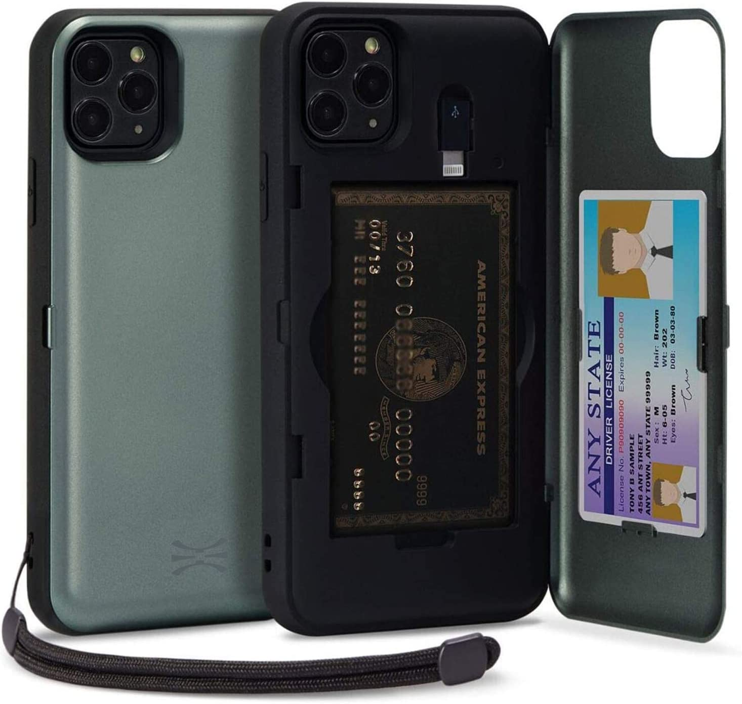 TORU CX PRO Compatible with iPhone 11 Pro Wallet Case - Protective Dual Layer with Hidden Card Holder, ID Slot Hard Cover, Strap, Mirror & Lightning Adapter - Midnight Green