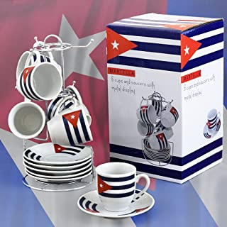 Cuban FlagDemitasse Coffee Cups. Set of 6 cups and 6 saucers. 2.5 ounces each