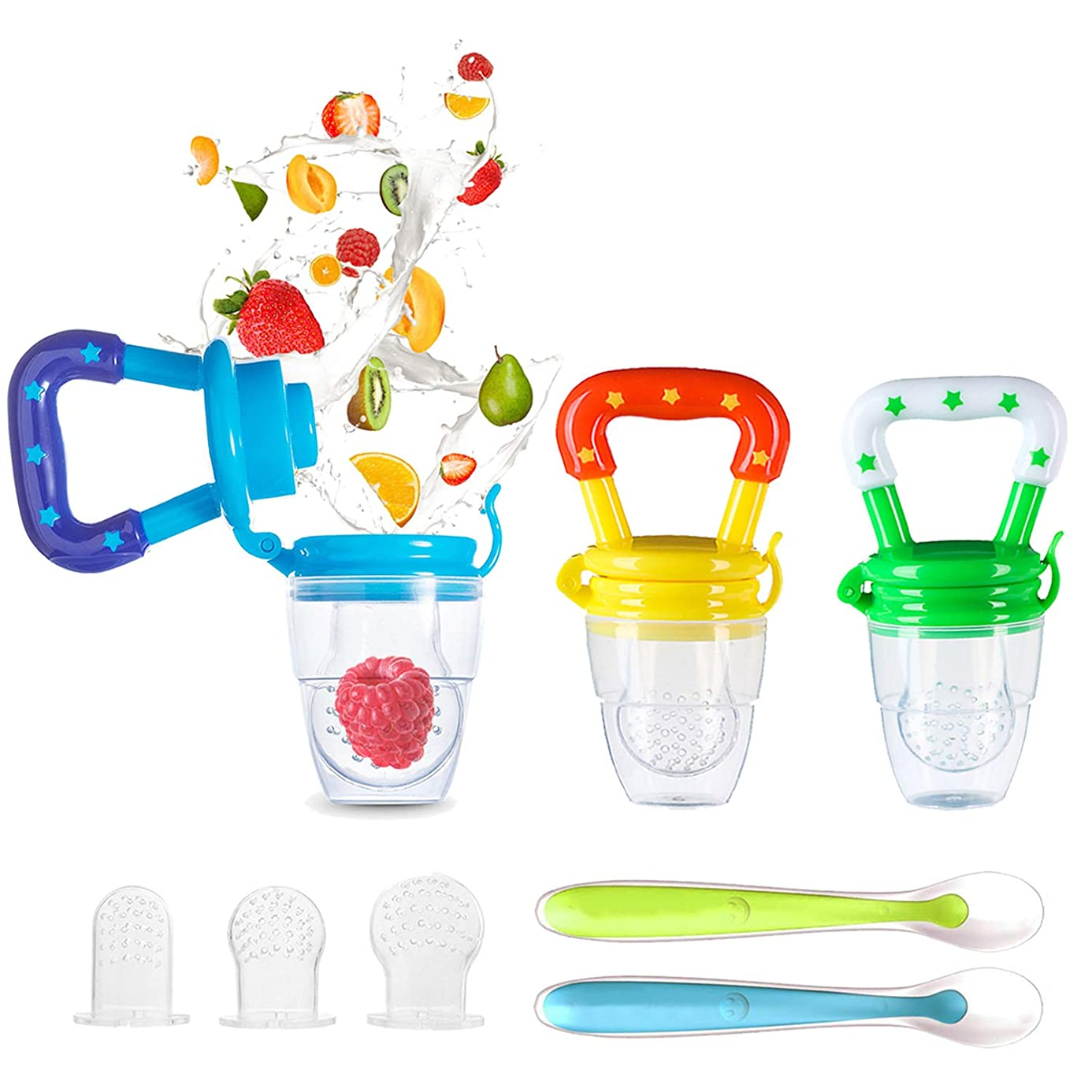 Baby Food Feeder, YCGRE Reusable Fresh Fruit Feeder Pacifier BPA Free Infant Teething Toy with 2 Pack Baby Feeding Spoons for Toddler & Kids Bonus 3 Pcs Replacement Silicone Pouches (Boy)