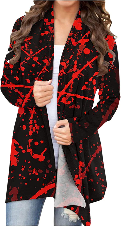 Halloween Cardigan for Women,Funny Cute Pumpkin Graphic Plus Siz Tops Long Sleeve Open Front Lightweight Coat