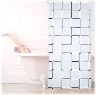 Color Blanco y Negro Relaxdays Cortina de Ducha Enrollable con dise/ño de Hojas para ba/ñera 120 x 240 cm Montaje Flexible