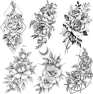 COKTAK 6 BläTter Groß Schwarz Rose Blume Temporäre Tattoo