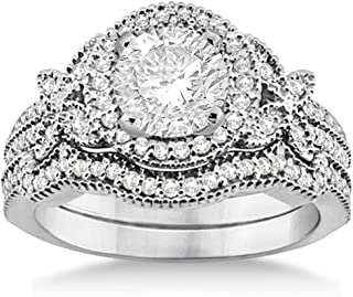 14k Gold Bridal Set Butterfly Diamond Engagement Ring and Wedding Band (0.58ct) GH VS