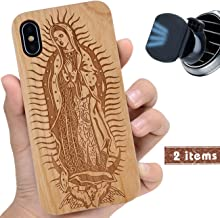 iProductsUS Wood Phone Case Compatible with iPhone Xs MAX and Magnetic Mount, Engraved Virgin Mary, Compatible Wireless Charger, Built-in Metal Plate, TPU Rubber Protective Cover (6.5