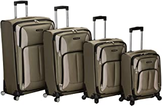 Rockland Impact Softside Spinner Wheel Luggage Set, Olive, 4-Piece (18/22/26/30)