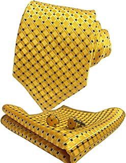 Men Classic Tie Set Color Options Necktie with Pocket Square Cufflinks +Giftbox LST8ZH