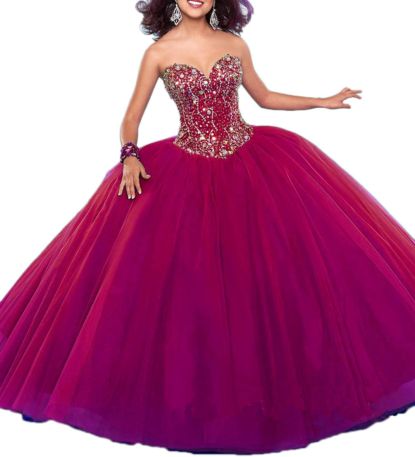 Beilite Sweetheart Crystals Tulle Sweet 16 Quinceanera Dress