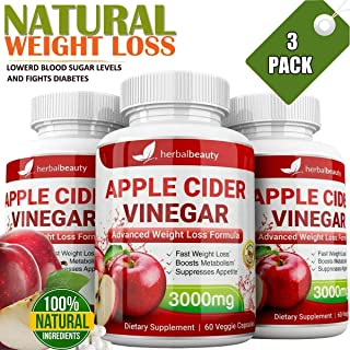 Apple Cider Vinegar 60 Veggie Capsules for Weight Loss & Cleanse - 100% Pure Extra Strength 3000mg - Natural Diet Pills Women & Men for Bloating, Constipation Relief, Digestion, Energy Boost (3 Pack)