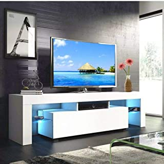 MTFY Modern Simple TV Stand with LED, Television Stand Entertainment Center Console Table for Living Room, for 51