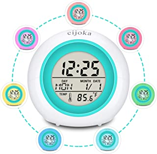 Cijoka Alarm Clock for Kids, Cute Girls Boys Alarm Clock 7 Colors Changing Light 8 Sounds Touch Control/Temperature Calendar/Fun Alarm Clock Gift for Child