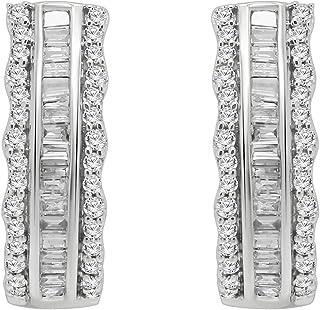 OMEGA JEWELLERY 10K White Gold Round & Baguette Shape Diamond Hoop Earrings for Women (0.63 Ct)