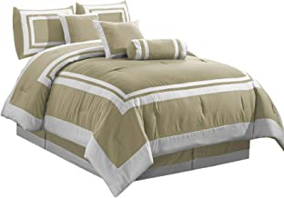Chezmoi Collection Caprice 7-Piece Square Block Framed Hotel Style Bedding Comforter Set (Full, Taupe/White)