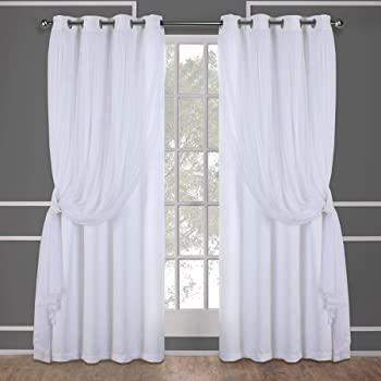 Exclusive Home Curtains Catarina Layered Solid Blackout and Sheer Window Curtain Panel Pair with Grommet Top, 52x84, Winter White, 2 Piece