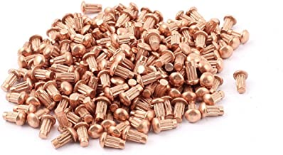 uxcell 200 Pcs 1/8 inches x 1/4 inches Copper Round Head Solid Rivets Knurled Shanks