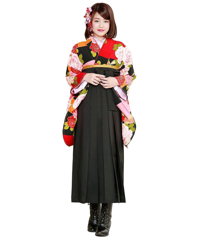 (ソウビエン)袴セット 卒業式 カラフル 赤 ピンク 黒 薔薇 花 小振袖 4点セット