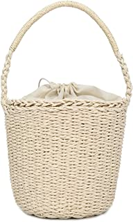 Women's Bag Straw Beach Bag Literary Fashion Bucket Handbag Woven Personality Exquisite Fashion Bag(fenmei),Gray