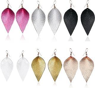 Genuine Leather Earrings Teardrop Leaf Petal Antique Lightweight Drop Earrings Gift For Women Girls