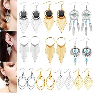 10 Pairs Drop Dangle Earrings Golden Silvery Fashion Jewelry Fringed Tassel Character Exaggerated Earrings Set for Women & Girls