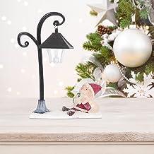 Mobestech Natal Santa Estatueta Acender Santa Ornamento Mesa Lanterna de Luz Com Lâmpada de Rua Santa Resina Natal Papai N...